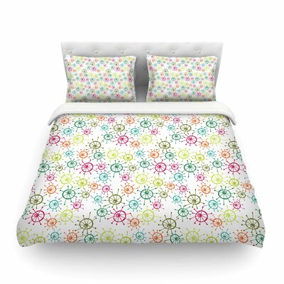 Mod Flower Burst by Holly Helgeson Featherweight Duvet Cover Size: Full/Queen