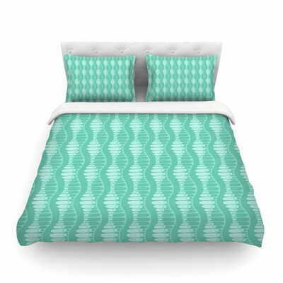 Mod Waves Pattern by Holly Helgeson Featherweight Duvet Cover Size: King