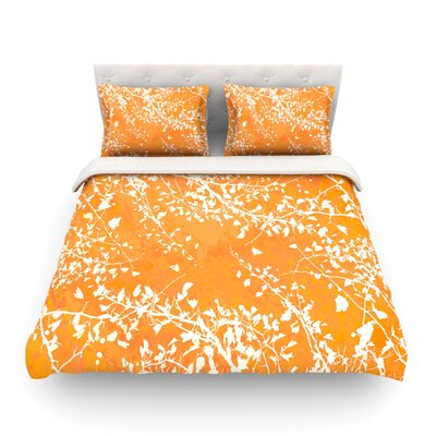 Twigs Silhouette by Iris Lehnhardt Featherweight Duvet Cover Color: Orange/Tangerine, Size: King