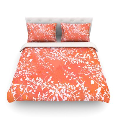 Twigs Silhouette by Iris Lehnhardt Featherweight Duvet Cover Color: Orange, Size: Full/Queen
