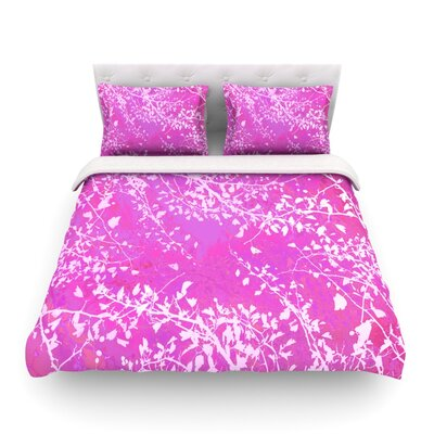 Twigs Silhouette by Iris Lehnhardt Featherweight Duvet Cover Size: King, Color: Pink/Blush