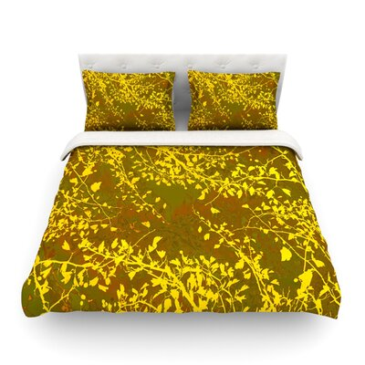 Twigs Silhouette by Iris Lehnhardt Featherweight Duvet Cover Color: Earthy/Brown/Yellow, Size: King