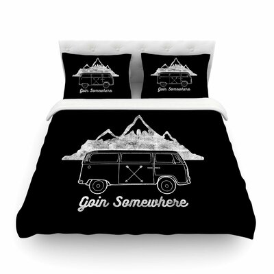 Goin Somewhere by Draper Featherweight Duvet Cover Color: Black, Size: King