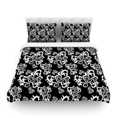Sweetheart Damask by Mydeas Featherweight Duvet Cover Color: Black/White, Size: Full/Queen
