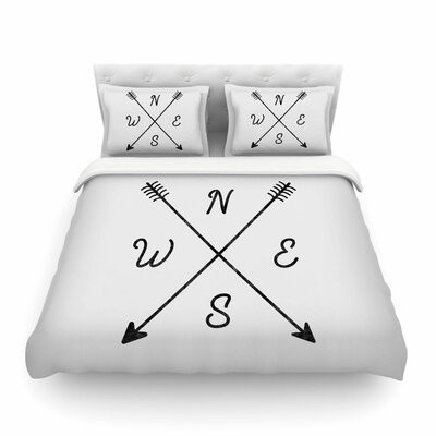 Cardinal Direction by Draper Featherweight Duvet Cover Size: Twin, Color: White