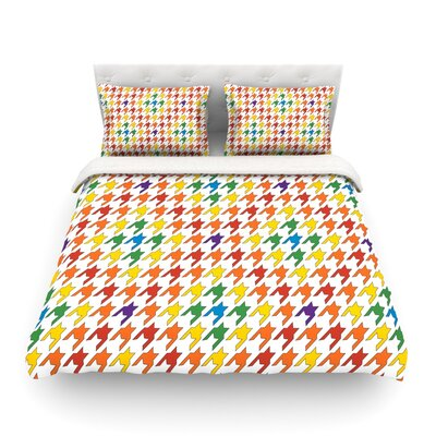 Rainbow Houndstooth by Empire Ruhl Featherweight Duvet Cover Size: Full/Queen