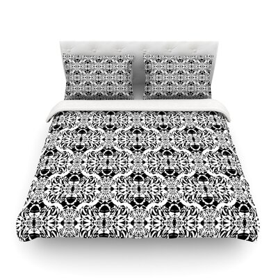 Illusion Damask Monochrome by Mydeas Featherweight Duvet Cover Size: King