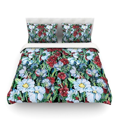 Giardino Garden Flowers by DLKG Design Featherweight Duvet Cover Size: Twin