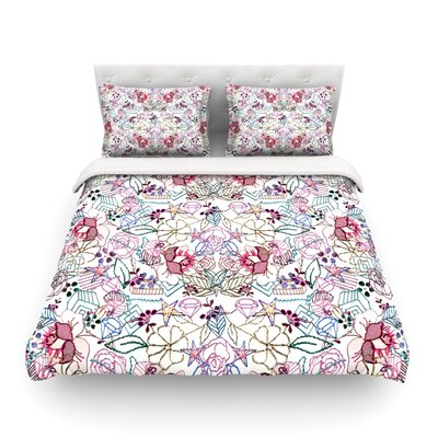 Cool Stitch Blush by DLKG Design Featherweight Duvet Cover Size: Twin