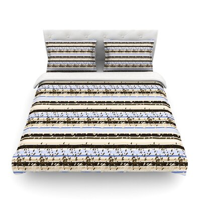 Nautical Breeze - Sandy Stripes by Mydeas Featherweight Duvet Cover Size: Twin