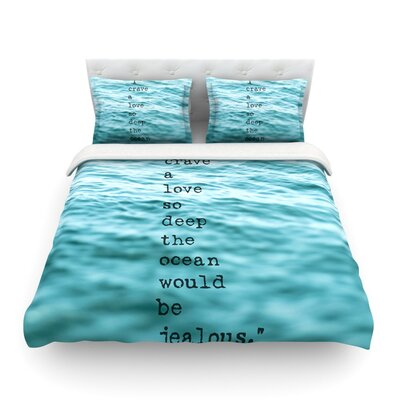 Crave Love Ocean by Debbra Obertanec Featherweight Duvet Cover Size: Full/Queen