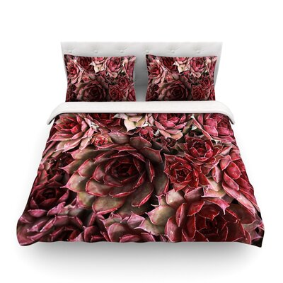 Succulents Maroon by Debbra Obertanec Featherweight Duvet Cover Size: Twin