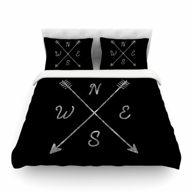 Cardinal Direction by Draper Featherweight Duvet Cover Size: Twin, Color: Black