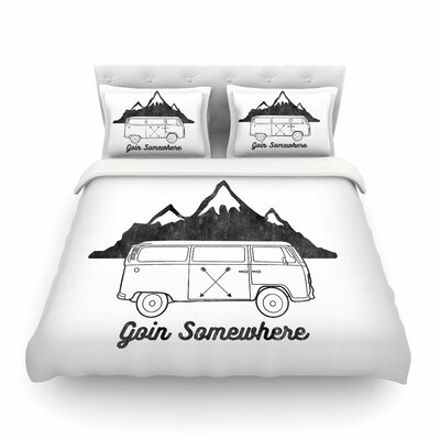 Goin Somewhere by Draper Featherweight Duvet Cover Size: Twin, Color: White