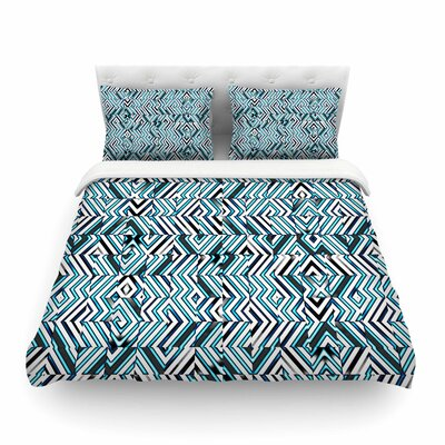Maze Geometric Abstract by Dawid Roc Featherweight Duvet Cover Color: Teal, Size: King