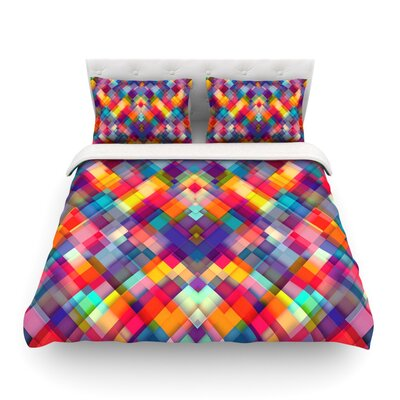 Squares Everywhere Rainbow Shapes by Danny Ivan Featherweight Duvet Cover Size: King