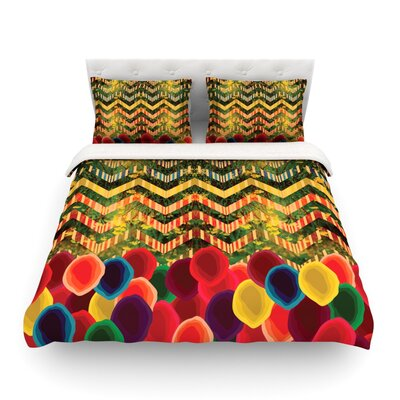 Chevron and Dots Rainbow by Deepti Munshaw Featherweight Duvet Cover Size: Twin