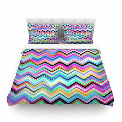 Colorful Rainbow Chevronby Dawid Roc Featherweight Duvet Cover Size: Twin
