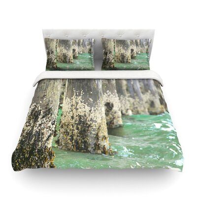 Saltwater Pylons Wooden by Debbra Obertanec Featherweight Duvet Cover Size: Twin