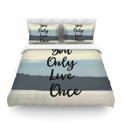 Yolo Typograghy Pastel by Debbra Obertanec Featherweight Duvet Cover Size: Full/Queen