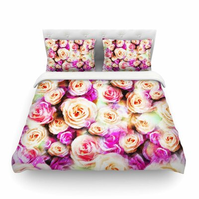 Sweet Pastel Rose Flowers by Dawid Roc Featherweight Duvet Cover Size: Full/Queen