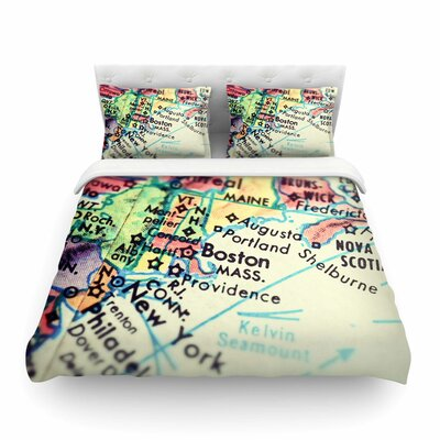 Boston on the Time by Debbra Obertanec Featherweight Duvet Cover Size: Full/Queen