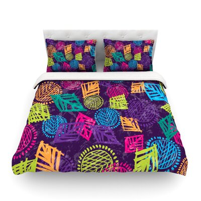 African Beat by Emine Ortega Featherweight Duvet Cover Color: Purple, Size: Twin