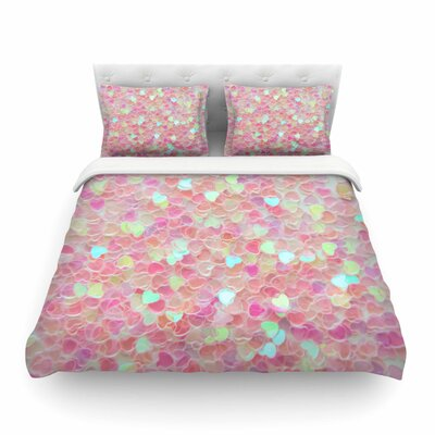 Hearts Galore Love by Debbra Obertanec Featherweight Duvet Cover Size: Twin