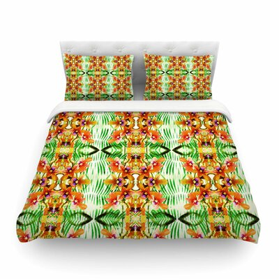 Tropical Flowers-Palm Leaves Pattern by Dawid Roc Featherweight Duvet Cover Size: Twin