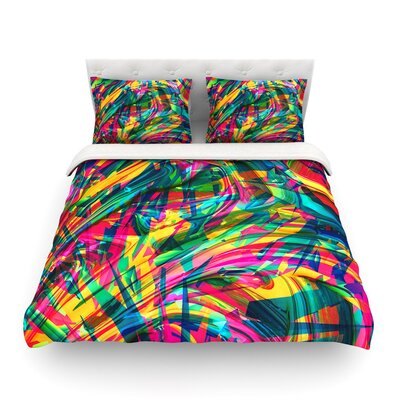 Wild Abstract Rainbow Illustration by Danny Ivan Featherweight Duvet Cover Size: Twin