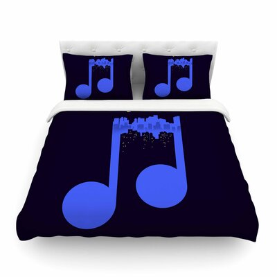 Night Music Illustration by Digital Carbine Featherweight Duvet Cover Size: Full/Queen
