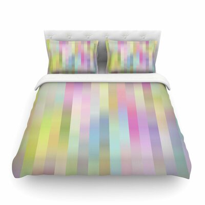 Sweet Pastel Lines by Dawid RocFeatherweight Duvet Cover Size: Twin