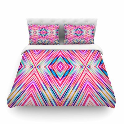 Modern Tribal Ethnic Ikat Geometric by Dawid Roc Featherweight Duvet Cover Size: Full/Queen