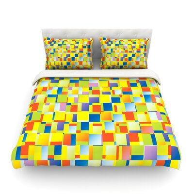 Blocking Geometric by Dawid Roc Featherweight Duvet Cover Size: King