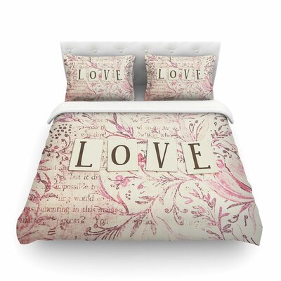 Simply Love Typography by Debbra Obertanec Featherweight Duvet Cover Size: Full/Queen