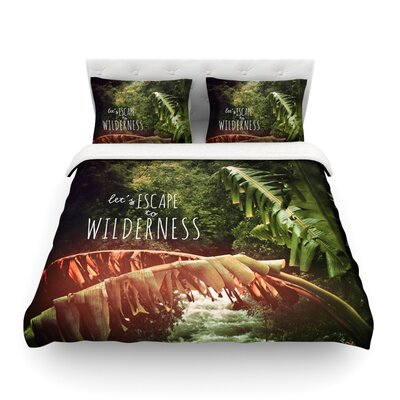 Escape to Wilderness Forest Quote by Deepti Munshaw Featherweight Duvet Cover Size: Full/Queen