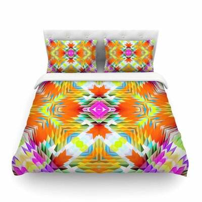 Colorful Tribal Mosaic by Dawid Roc Featherweight Duvet Cover Size: King