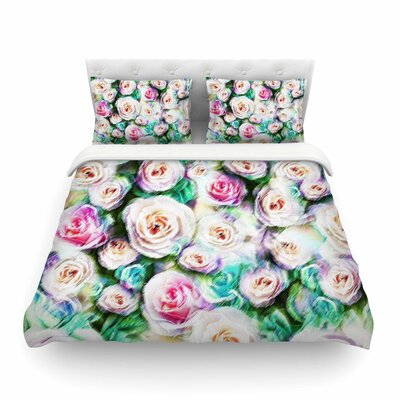Bright Rose Floral Abstract by Dawid Roc Featherweight Duvet Cover Size: King