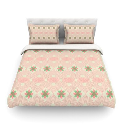 Pattern by Deepti Munshaw Featherweight Duvet Cover Color: Beige/Green, Size: Full/Queen