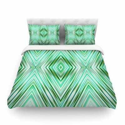 Mint Modern Ethnic Geometric by Dawid Roc Featherweight Duvet Cover Size: Full/Queen