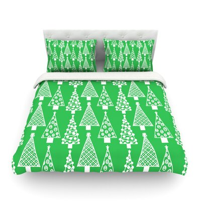 Jolly Trees by Emine Ortega Featherweight Duvet Cover Color: Green, Size: Full/Queen