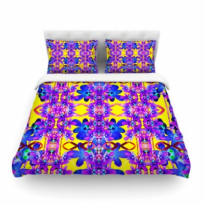 Tropical Orchid Dark Floral by Dawid Roc Featherweight Duvet Cover Color: Purple/Yellow, Size: King