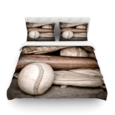 Play Ball Baseball by Debbra Obertanec Featherweight Duvet Cover Size: Twin