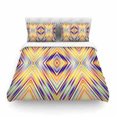 Colorful Tribal Ethnic Ikat Pattern by Dawid Roc Featherweight Duvet Cover Size: Twin