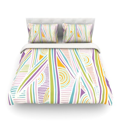 Graphique by Emine Ortega Featherweight Duvet Cover Color: White, Size: King