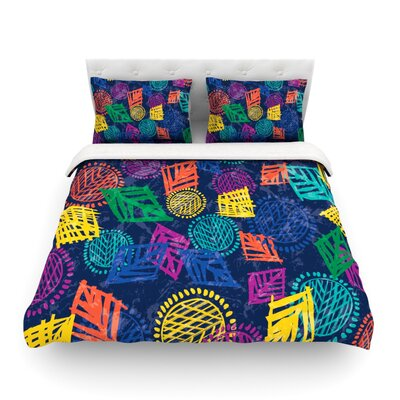 African Beat by Emine Ortega Featherweight Duvet Cover Size: Full/Queen, Color: Blue