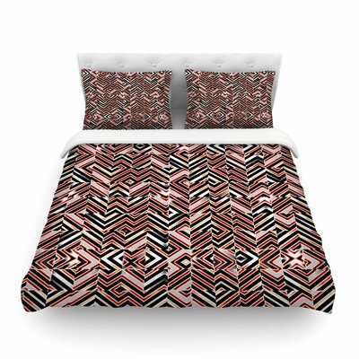 Maze Geometric Abstract by Dawid Roc Featherweight Duvet Cover Size: Full/Queen, Color: Orange
