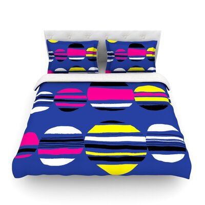 Retro Circles by Emine Ortega Featherweight Duvet Cover Color: Cobalt, Size: King
