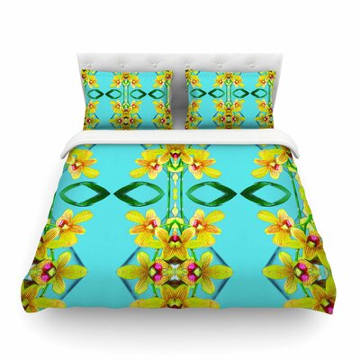 Tropical Floral Orchids by Dawid Roc Featherweight Duvet Cover Size: King