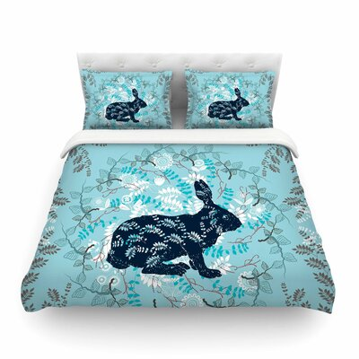 Bunny in the Jungle Animals by Famenxt Featherweight Duvet Cover Size: King